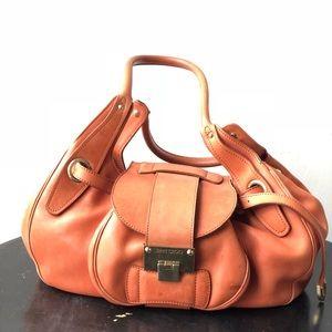 Jimmy choo orange leather rhona satchel